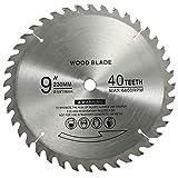 BlueNatHxRPR 9' 40 Teeth Carbide Tip Wood Cutting Circular Saw Blade Table Saw Blade Miter Saw Blade with 5/8' Arbor for General Purpose