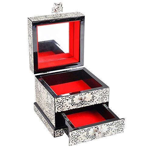 QULONG Exhibición de joyería Vitrina Caja de Almacenamiento de joyería de Madera pequeña y Simple para Collar, Anillos, Pendientes, Relojes, Almacenamiento, Regalo Vintage para niñas, Mujeres para