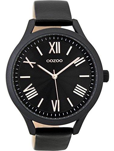 Oozoo Damenuhr mit Lederband 42 MM Black/Schwarz/Schwarz C9479