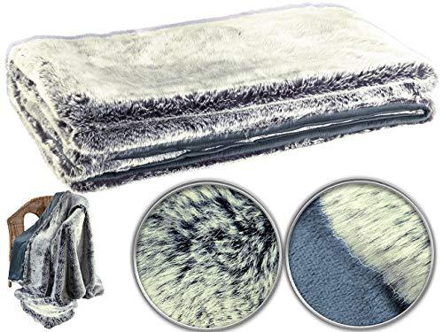 Wilson Gabor Pelzimitatdecke: Hochwertige Pelzimitat-Decke in Blaufuchsfell-Optik, 200 x 150 cm (Felldecken)