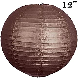 BalsaCircle 12 pcs Chocolate Brown 12-Inch Tall Paper Shades Lanterns - Lamp Wedding Event Birthday Party Home Decorations Supplies