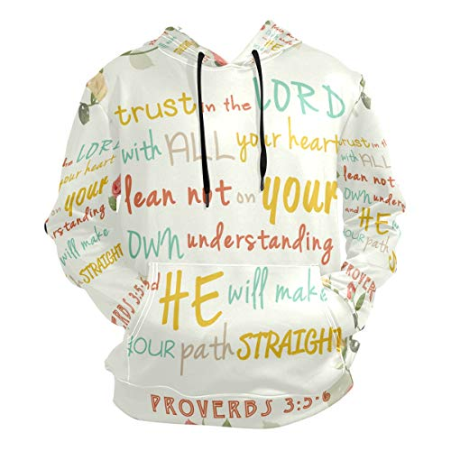 Bible Verses Rose Love Truth Lord Thin Suitable Hoodies Sweatshirt Autumn Men's Gym Pullovers Size S