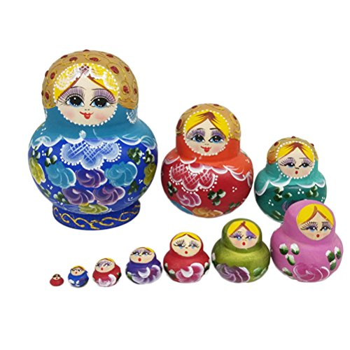ULTNICE Russische Nesting Dolls 10 teilige Matryoshka Bunte Stapeln Spielzeug Puppe
