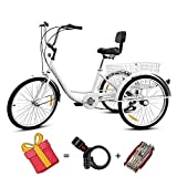 Mu Xin Adult Tricycle Bike,Adult Training Wheels for Bikes-Adult Trike for Seniors,7 Speed