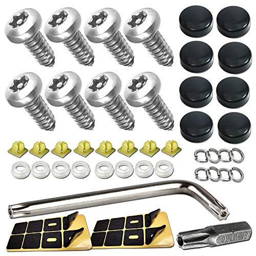 Anti Theft License Plate Screws-Contains 8 Black Screw Caps, Stainless Steel Plate Screws Tamper Resistant Fasteners | Security Tapping Screws | Qty 8 | for Protection License Plates on Cars Trucks
