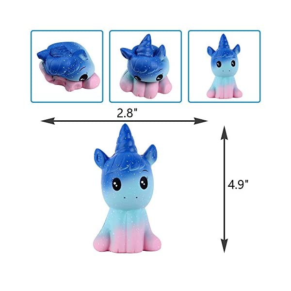 Anboor 4.9 Inches Squishies Unicorn Galaxy Kawaii Soft Slow Rising Scented Animal Squishies Stress Relief Kids Toys (Galaxy) 4