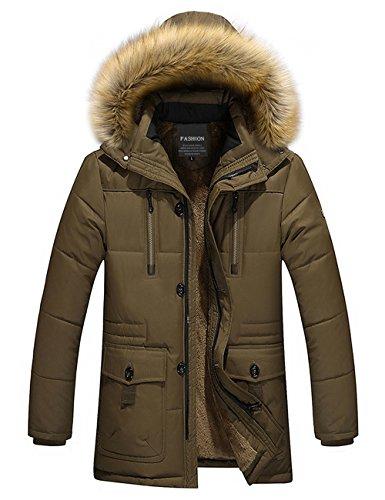 Menschwear Uomo Jacket Down Puffer Giacca Foderato di Pile Incappucciato Piumino Collare di Pelliccia Addensato (S,Marrone)