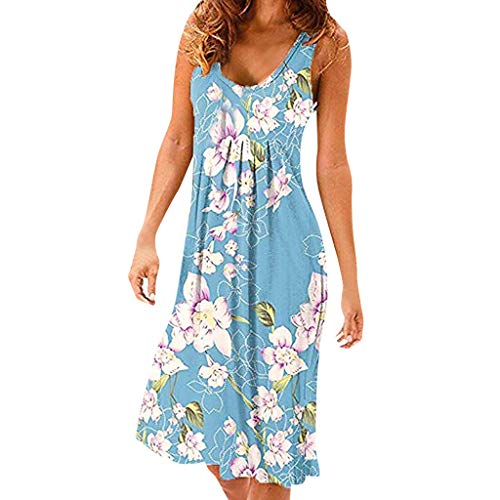 Dress,Meet&sunshine Women's Summer Casual Sleeveless Mini Plain Pleated Tank Vest Dresses (Sky Blue, XL)