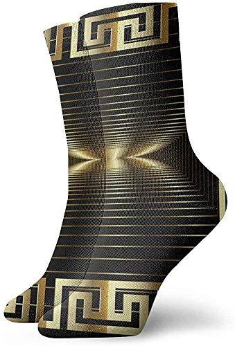 iuitt7rtree 3d Gold Modern Abstract Griechisch Panel PatternSocks Soft Warmer Strümpfe Sport Socken (30Cm)