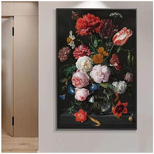 cuadros decoracion salon Naturaleza muerta con flores en un jarrón de vidrio Pinturas al óleo impresas en lienzo Carteles e impresiones artísticos Imágenes de arte barroco Decoración para el hogar 15