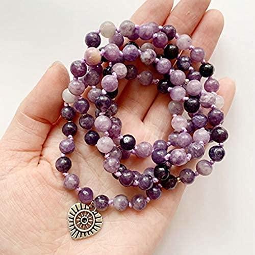 HYJMJJ Pulsera Feng Shui Bead 6mm Pulsera Natural Perlas Collar 108 Perlas de oración Tíbet Buddhist Mala Pulsera Mano Anudada Om Lotus 1pc Pulsera de Abalorios de Amuleto