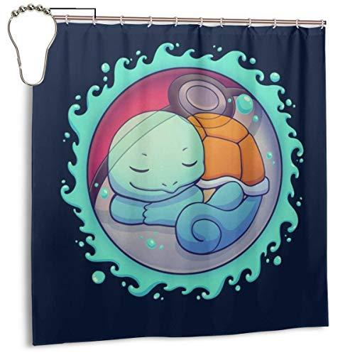 GSEGSEG Wasserdichter Polyester-Duschvorhang Squirtle mit verstecktem Wasserball Monster of The Pocket Print, dekorativer Badezimmer-Vorhang mit Haken, 182,9 cm x 182,9 cm