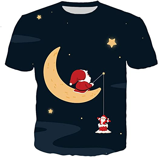 K-Youth Camiseta Hombre Navidad Invierno Casual T-Shirt Top ...