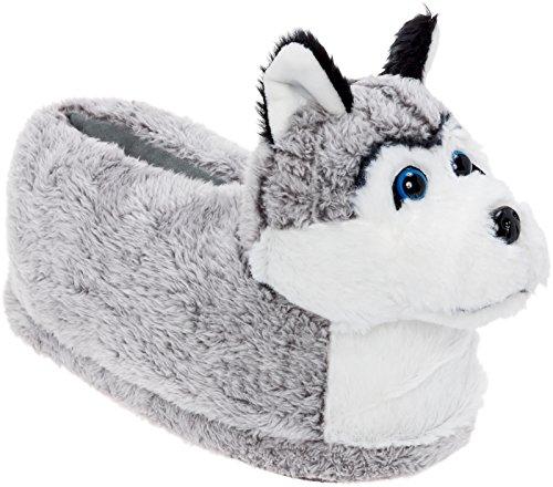 Silver Lilly Siberian Husky Slippers - Plush Dog Slippers w/Platform (Grey/White/Black, Medium)