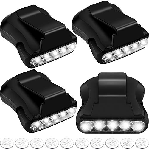 Hat Light Clip-on Cap Light Hat Flashlight 5-LED Cap Headlamp Rotatable Lamp LED Cap Light for Hunting Camping Running Fishing with 10 Pieces Extra Batteries Included (Black,4 Pack)