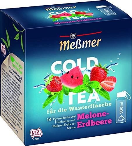 Meßmer Cold Tea Melone-Erdbeere | Belebe dein Wasser mit dem spritzigen Geschmack | ohne Zucker | ohne Kalorien | Alternative zu zuckerhaltigen Getränken wie Limonade oder Saft | 14 Pyramidenbeutel