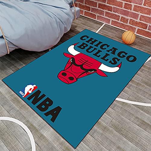 Tritow Alfombras para la Sala de Estar Alfombra para el Dormitorio de la Serie NBA de los Chicago Bulls Alfombra Antideslizante con el Logotipo de la NBA para el Suelo de Baloncesto Alfombra