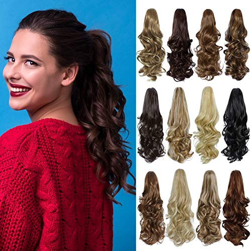 Ponytail Extension 16' Long Curly Wavy Claw Jaw Clip in Synthetic Hairpiece Pony Tail Tale Ponytail Hair Extensions