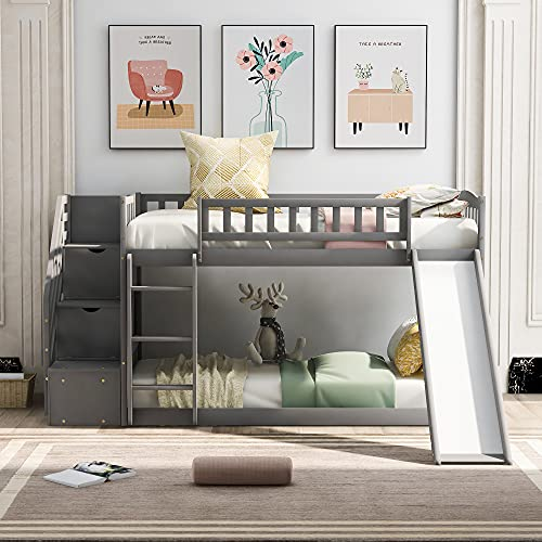 Twin Over Twin Bunk Bed with 2 Drawers, Stairway ,Slide and Ladder - Bunk Bed for Family, Kids, Teens,No Box Spring Needed