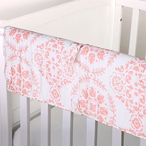 Coral Pink Medallion 100% Cotton Padded Crib Rail Guard by The Peanut Shell