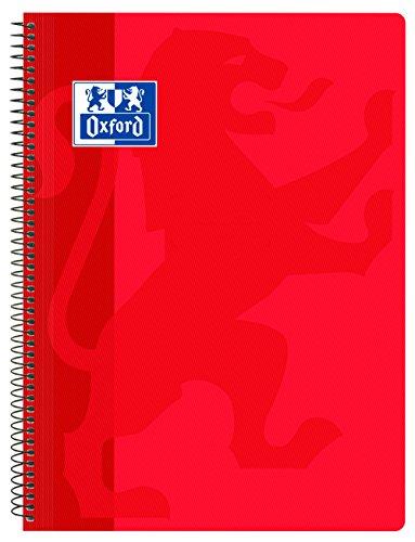 Oxford Classic - Cuaderno espiral, tapa plástico, cuadrícula 4x4, color rojo