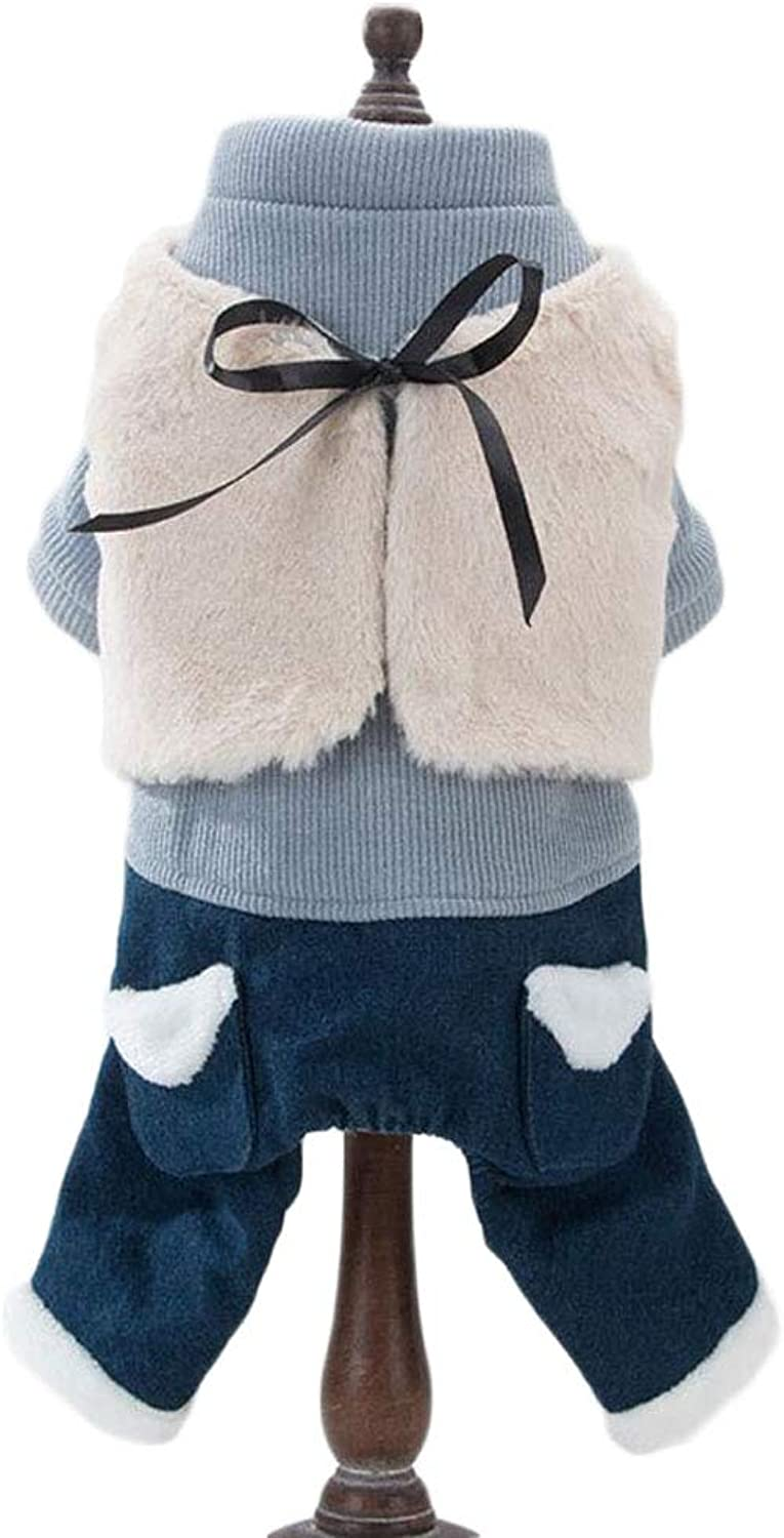 Dog Clothes pet FourLegged Cotton Coat Small Dog Warm Thick Clothing Autumn and Winter Clothing (color   bluee, Size   L)