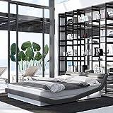 INNOCENT® – Zahira LED   180 x 200 cm H2   Letto a molle di design bianco PU/tessuto grigio   Letto da hotel di design in grado di durezza H2