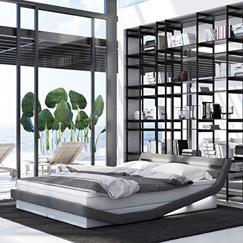 INNOCENT® - Zahira LED | 180x200cm H3 | Designer Boxspringbett in Weiss PU/Stoff Grau | Hotelbett Designerbett in Härtegrad H3