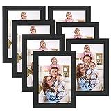 Giftgarden Marcos de Fotos Multiples 10x15 de Pared y Mesa, Conjunto de Portafotos Negros de Madera, Diseño Sencillo y Moderno, 7 Piezas