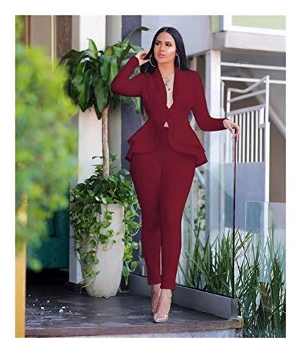 ASVNDD Frauen-Winter-Frauen-Set Anzug Voll Sleeve Raff-Bleistift-Hosen-Anzug Zweiteiler Büro-Dame Outfits Uniform (Color : Burgundy, Size : 3XL-Large)
