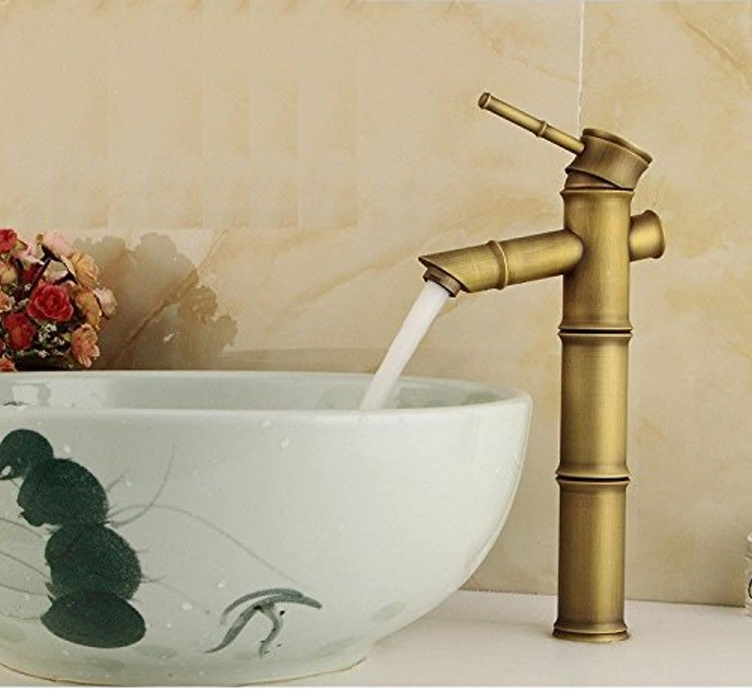 Lalaky Taps Faucet Kitchen Mixer Sink Waterfall Bathroom Mixer Basin Mixer Tap for Kitchen Bathroom and Washroom Antique Bamboo Brushed