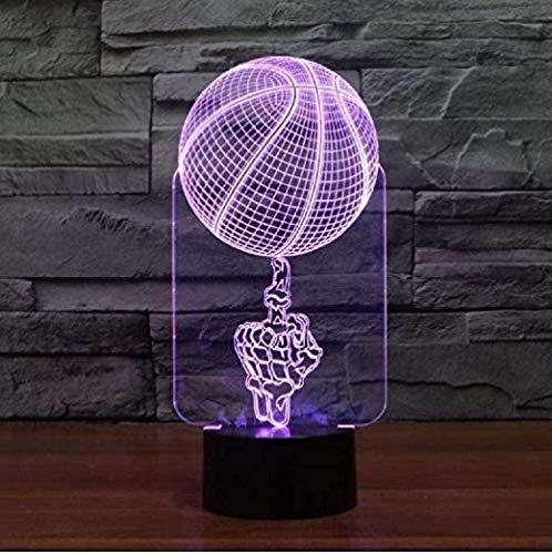 FYJ LED 3D luz de Noche Control Remoto Top Mano Top Baloncesto Lámpara de Baloncesto LED Visual Lámpara Atmósfera Novedad Luminaria LED Luz Cumpleaños y Vacaciones para niños