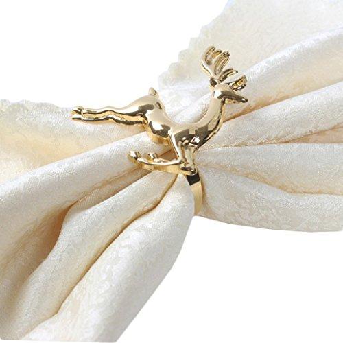 Yalulu 6 Stück Handgemachte Silber Gold Elche Hirsch Serviettenringe Serviette Halter Weihnachten Wedding Banquet Dinner Dekor (Gold)