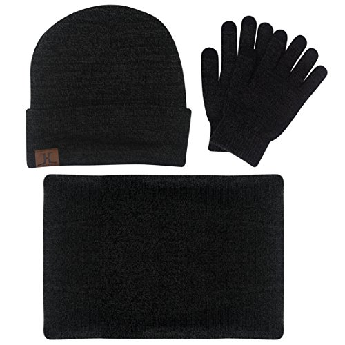 3 PCs Men Winter Knitted Hat Skull Beanie Set with Scarf Gloves Cap Shawl Mittens