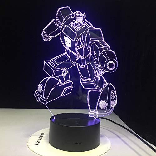 Creativo Robot LED Luz de Noche de Conversión de Múltiples Colores 3D Lámpara de Mesa Decoración de Dormitorio
