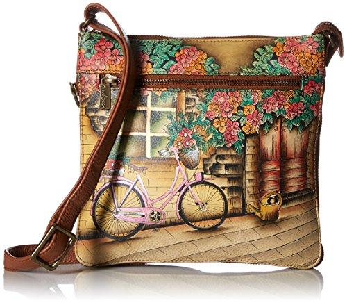 Anuschka Damen Expandable Travel Erweiterbare Crossbody-Tasche, echtes Leder, Vintage Bike, Einheitsgröße