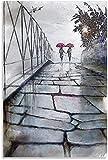 DCPPCPD Tela De Lienzo 50 * 70cm Sin Marco Los Amantes Dan un Paseo por el Cartel de la Pintura de Las Ilustraciones de la decoración del Comedor