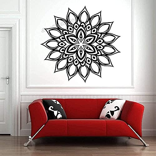 wwhhh pegatina de pared mandala flor estilo boho decoración de pared vinilo estudio de yoga sala de estar dormitorio decoración 54X56Cm
