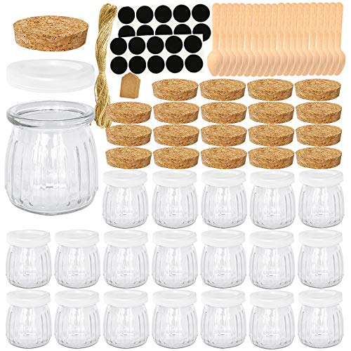 Folinstall 20 Pcs 7 oz Glass Jars with Lids - Yogurt Container - Yoghurt Jars for Jam Spices Gift Holder Extra 20 Cork Lids Chalkboard Labels Tag Strings and 20 Wooden Spoons