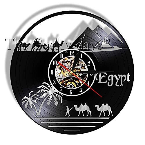 BFMBCHDJ African Zoo Vinyl Record Reloj de Pared Decoración para el hogar Reloj de Pared Vinyl Record Reloj de Pared Retro Nostalgic Art Reloj de Pared A4 No LED 12 Pulgadas