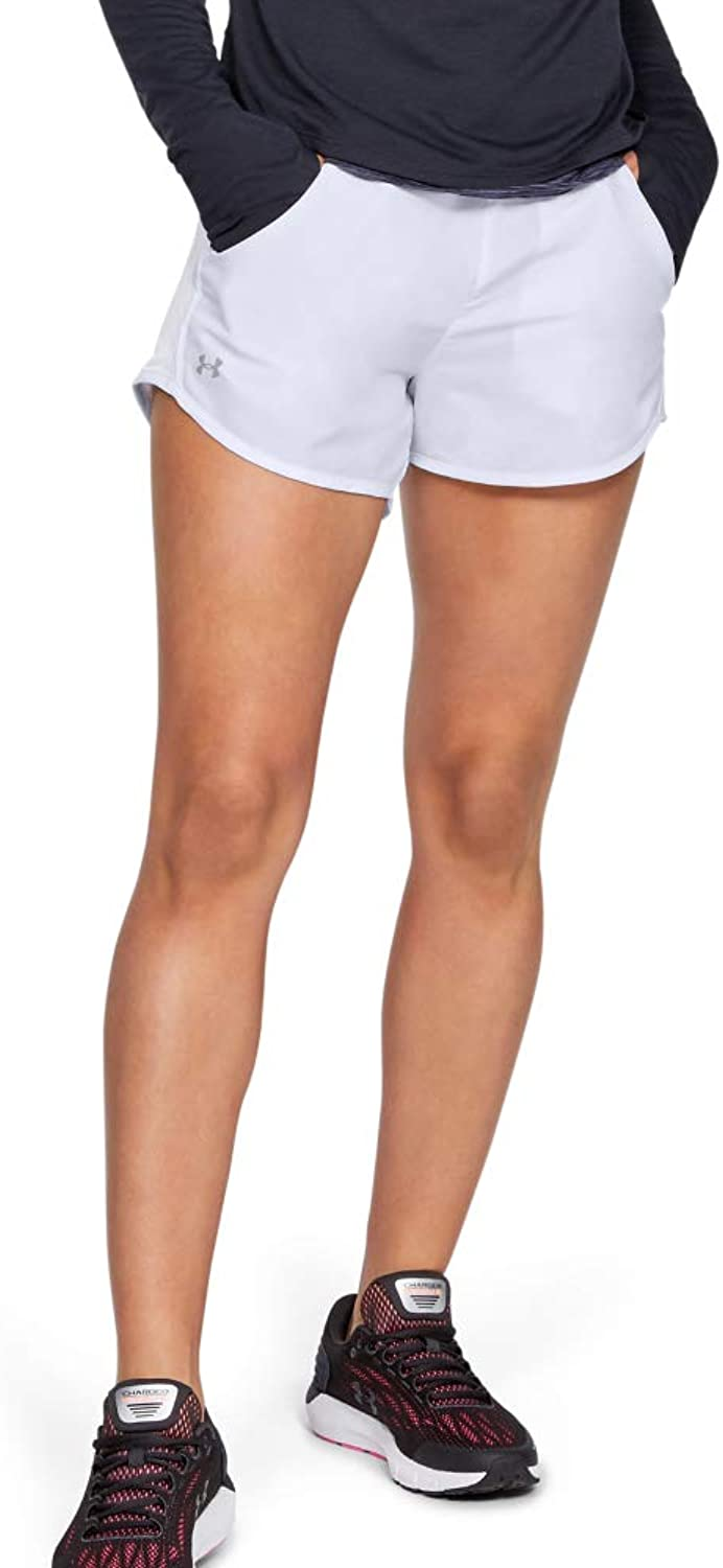 Under Armour Women's Fly By Running Shorts, 白い (100)/Reflective, XX-Large