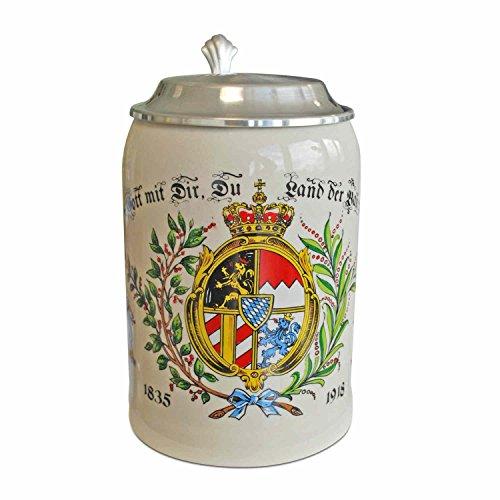 Boccale da birra in grès porcellanato, con coperchio in stagno, colorato, capacità 0,5 l