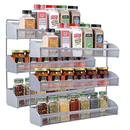 YOMYM Estanterías metálicas para Especias con estantes, Montaje en Pared Cocina Organizador de Especias, Cocina Baño Estante Especiero de Pie Encimera Organizador Multiuso para Especias (3 Capas)