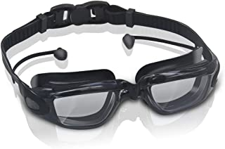GLOUE Premium Swimming Goggles with Attached Ear Plugs Underwater Glasses No Leak, Clear Anti-Fog Lenses, Comfortable Nose Piece, Soft Durable Rubber Silicone for Adult Men Women Youth Kids Child