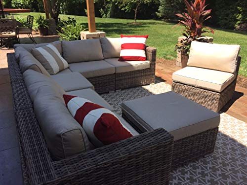 Wicker Patio Furniture Conversation Set No Assembly Outdoor Sectional Sofa Aluminum L Shape Couch Modern Deck Rattan Furniture w/Free Waterproof Cover-Toss Pillows Included
