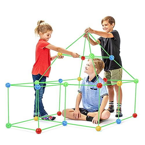 Fort Building Kit,87 Pieces Flexible Construction Fort for Kids,Tunnels Play Tent Rocket Tower Indoor &Outdoor, Fun Birthday Sleepover Toy