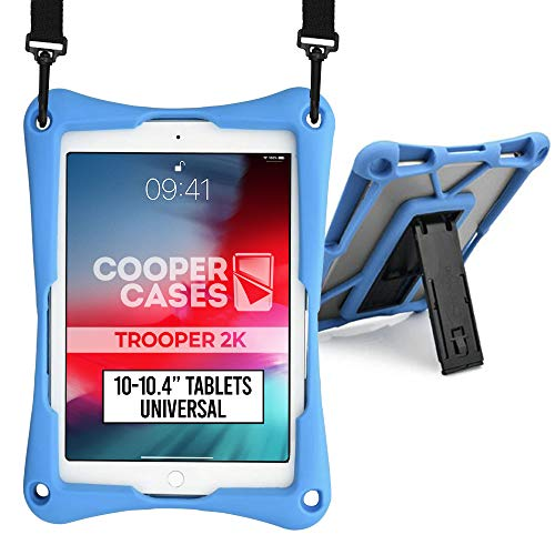 Cooper Trooper 2K Rugged Case for 10-10.4'' Tablet | Tough Bumper Protective Drop Shock Proof Kids Holder Carrying Cover Bag, Stand, Hand Strap (Blue)