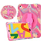 iPad 10.2 Case 2019 iPad 7th Generation Case Vivid Colors Sturdy Durable Shockproof Protective Case 360 Degree Rotating Kickstand (Pink Camo)
