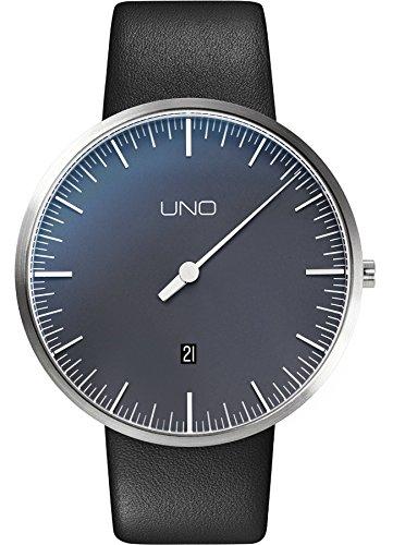 Botta Design UNO Plus Jubiläumsedition Quarz Armbanduhr - Einzeigeruhr, Edelstahl, Datum, Lederband (44, Perlschwarz)