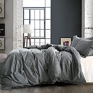 NTBAY Linen 3 Pieces Duvet Cover Set Solid Color with Exquisite Ruffles Design, Breathable, King Size, Grey